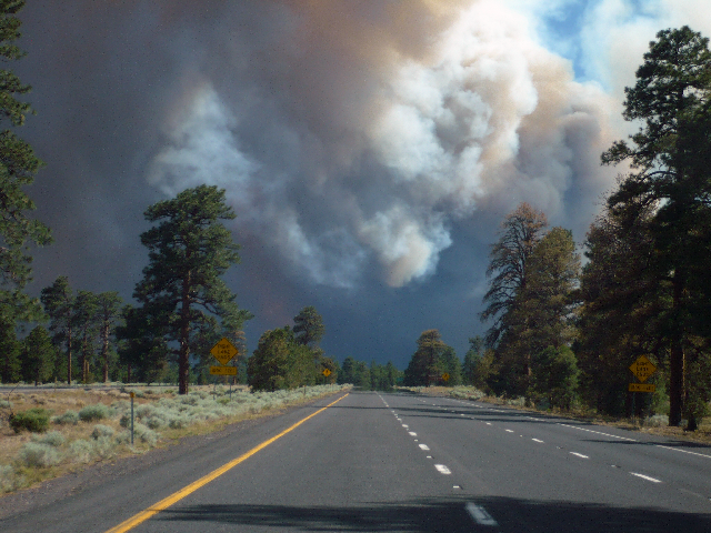 View of the Shultz Pass Fire as I travelled back to Flagstaff on Highway 89. It was only a few hours old at this point on Sunday afternoon, June 20, 2010.