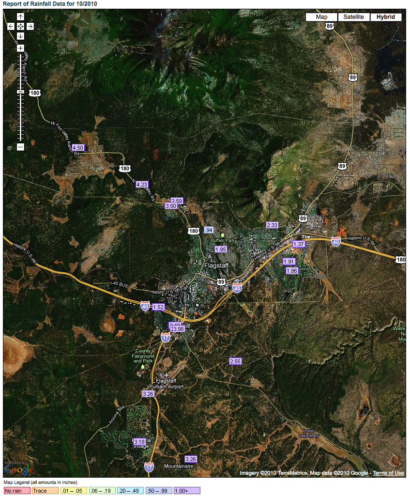 October 2010 Rainfall - Flagstaff