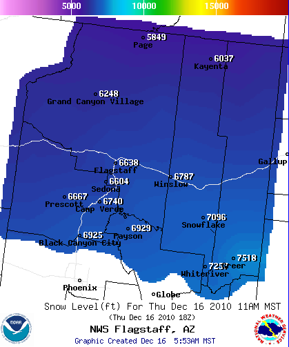 Snow Level - NWS - 11am MST