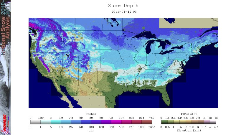 National Snow Depth Map - NOAA