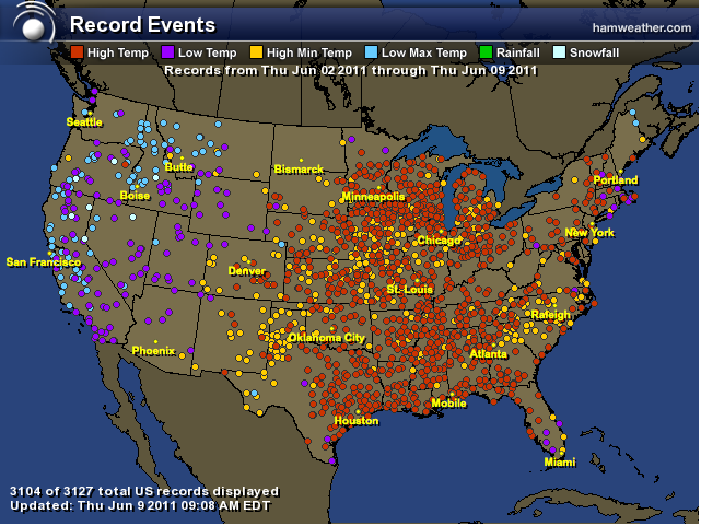 Record Temperatures for the week ending June 9, 2011. From HAMWeather.com