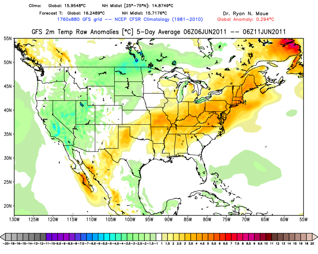 5 day temperature anomaly outlook for USA - Dr. R. Maue, Florida State University