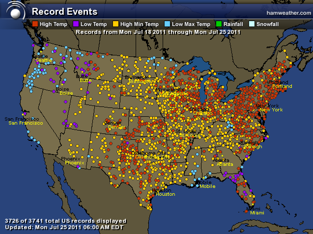 HAMweather Climate Center - Record Events for The Past Week - Continental US