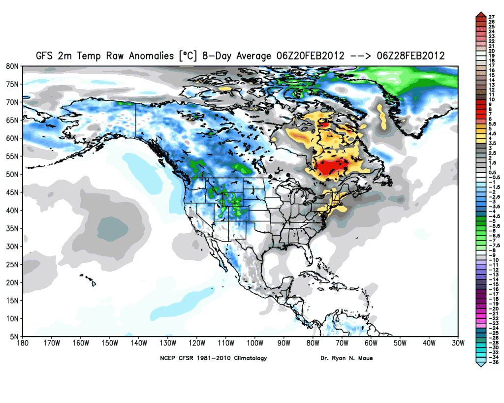 8 day average temperature anomaly - Dr. Ryan Maue at Policlimate.com