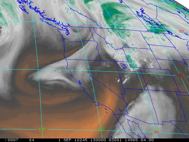 Satellite image of water vapor content from Saturday morning, September 1, 2012