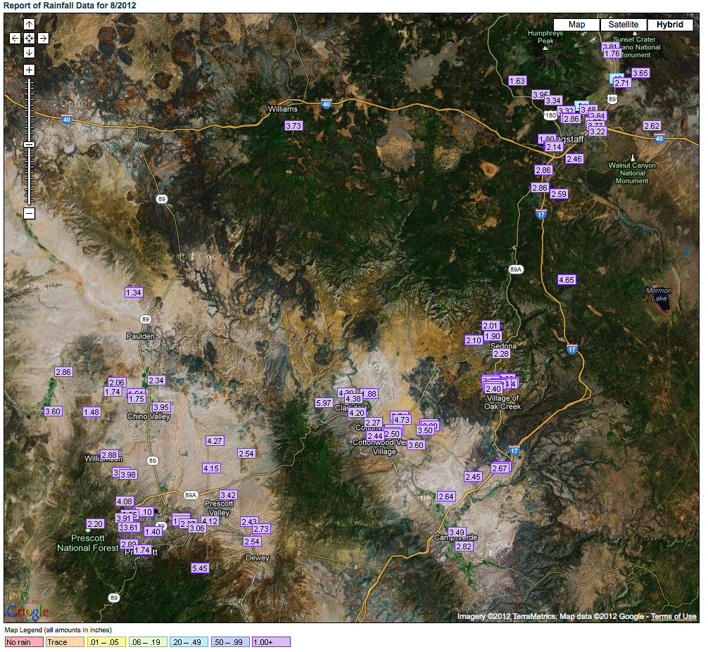 August precipitation for Northern Arizona from rainlog.org.