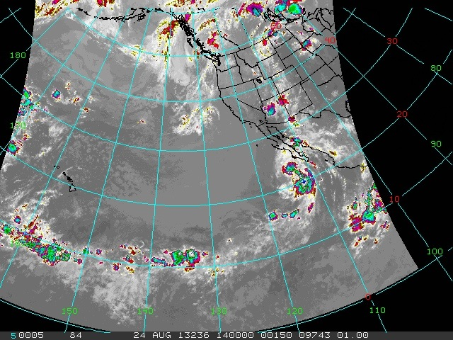 Infrared satellite image from Saturday morning. National Weather Service.