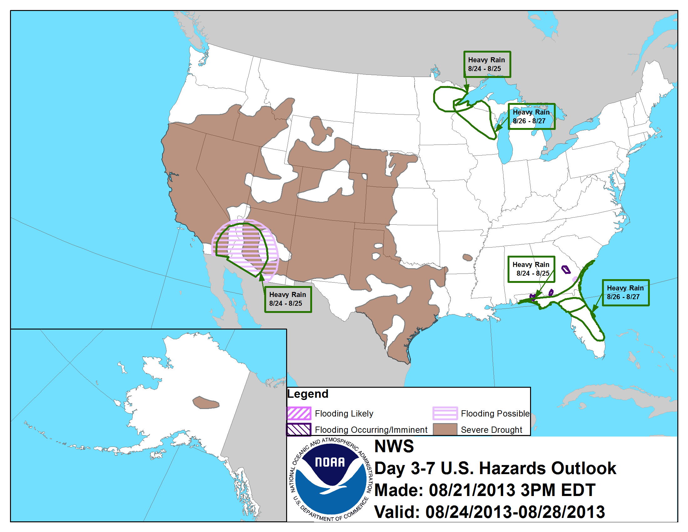 3-7 day hazards outlook from the Climate Prediction Center.
