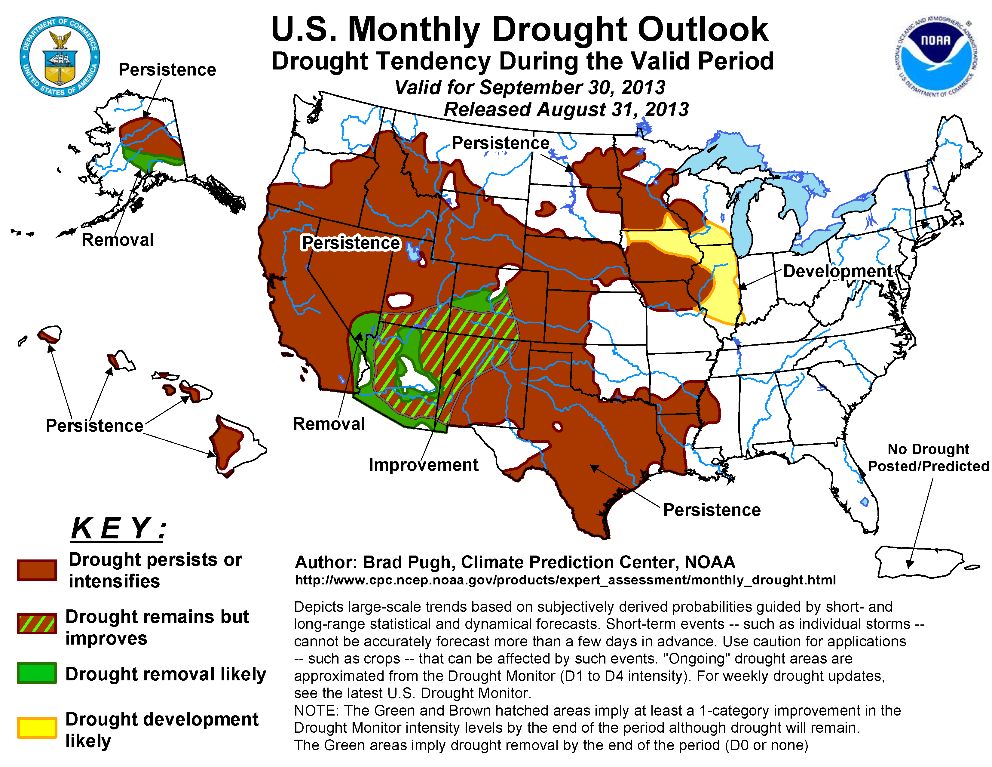Monthly drought outlook from the Climate Prediction Center. September 2013