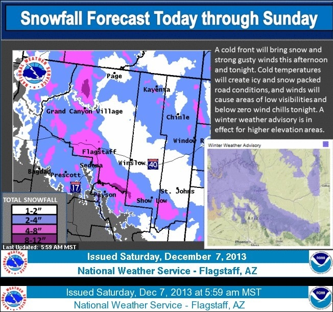 Weather Story on 12-7-2013 from National Weather Service Flagstaff