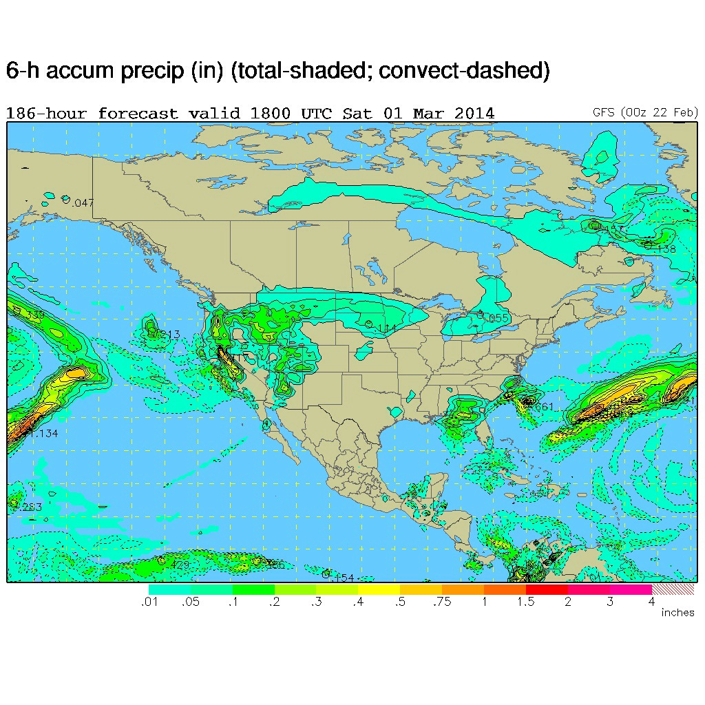 GFS model for 6-hour precipitation outlook on Saturday, March 1, 2014.