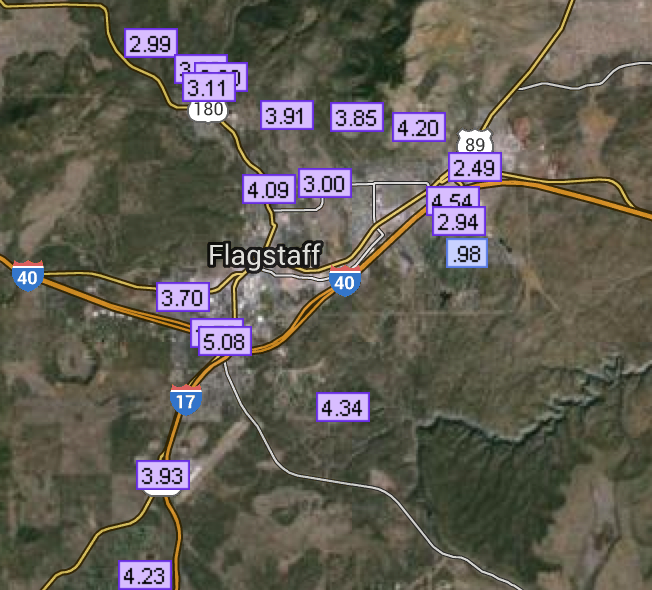October rainfall for the Flagstaff area reported on rainlog.org. (through October 30, 2015)