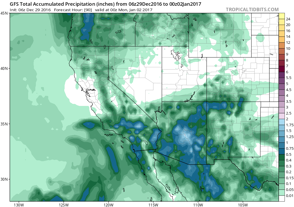 Total precipitation through Sunday evening, January 1, 2017. From the GFS model at Tropical Tidbits.